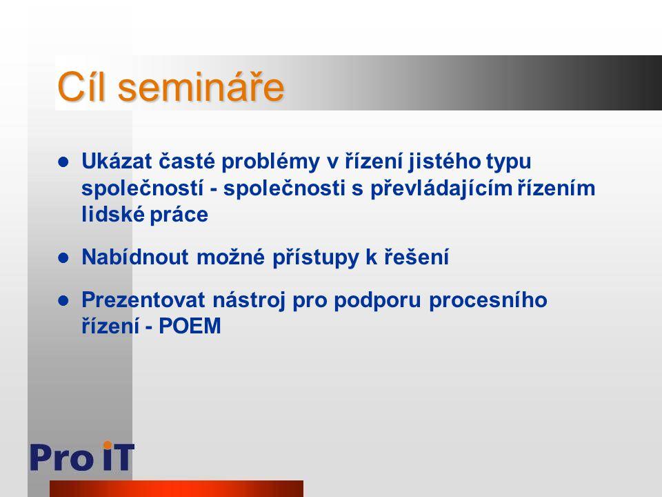 Cíl semináře Ukázat časté problémy v řízení jistého typu společností - společnosti s převládajícím řízením lidské práce Nabídnout možné přístupy k řeš