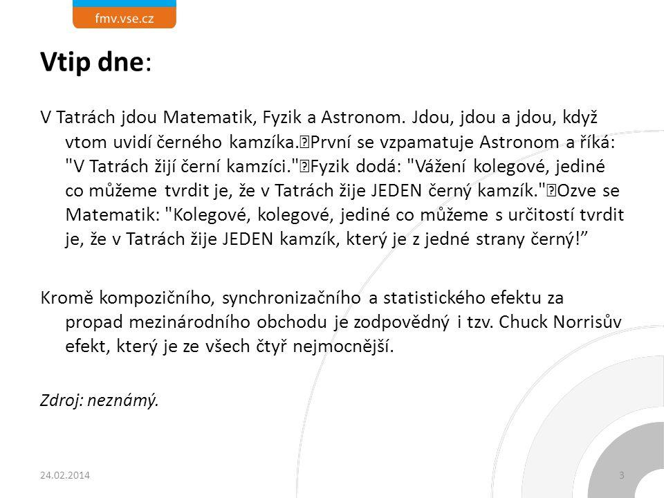 Vtip dne: V Tatrách jdou Matematik, Fyzik a Astronom. Jdou, jdou a jdou, když vtom uvidí černého kamzíka. První se vzpamatuje Astronom a říká: