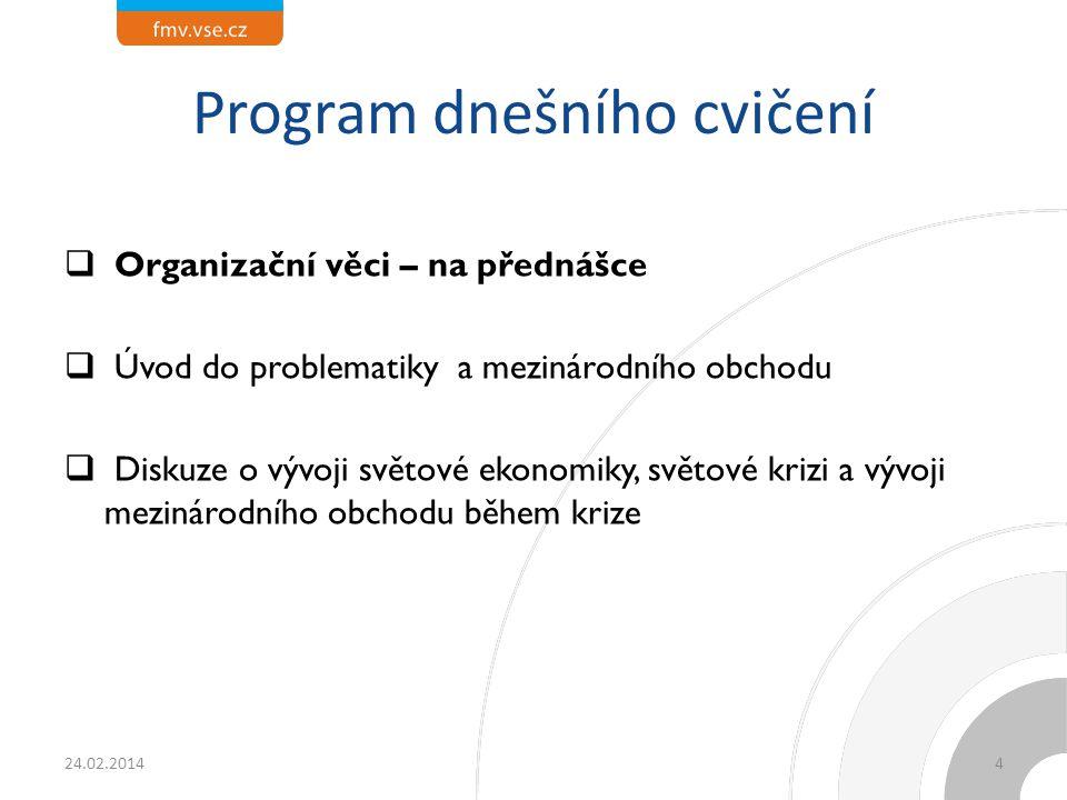 Program dnešního cvičení  Organizační věci – na přednášce  Úvod do problematiky a mezinárodního obchodu  Diskuze o vývoji světové ekonomiky, světov