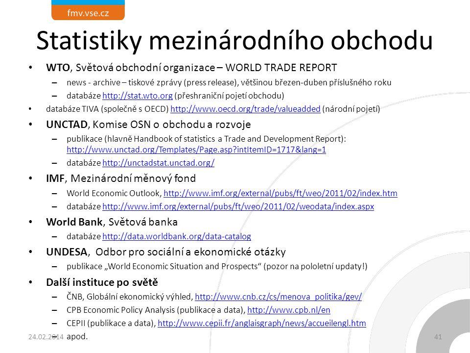Statistiky mezinárodního obchodu WTO, Světová obchodní organizace – WORLD TRADE REPORT – news - archive – tiskové zprávy (press release), většinou bře
