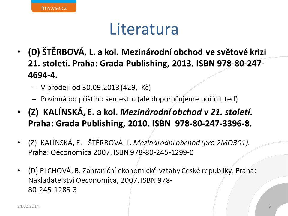 Literatura (D) ŠTĚRBOVÁ, L. a kol. Mezinárodní obchod ve světové krizi 21. století. Praha: Grada Publishing, 2013. ISBN 978-80-247- 4694-4. – V prodej