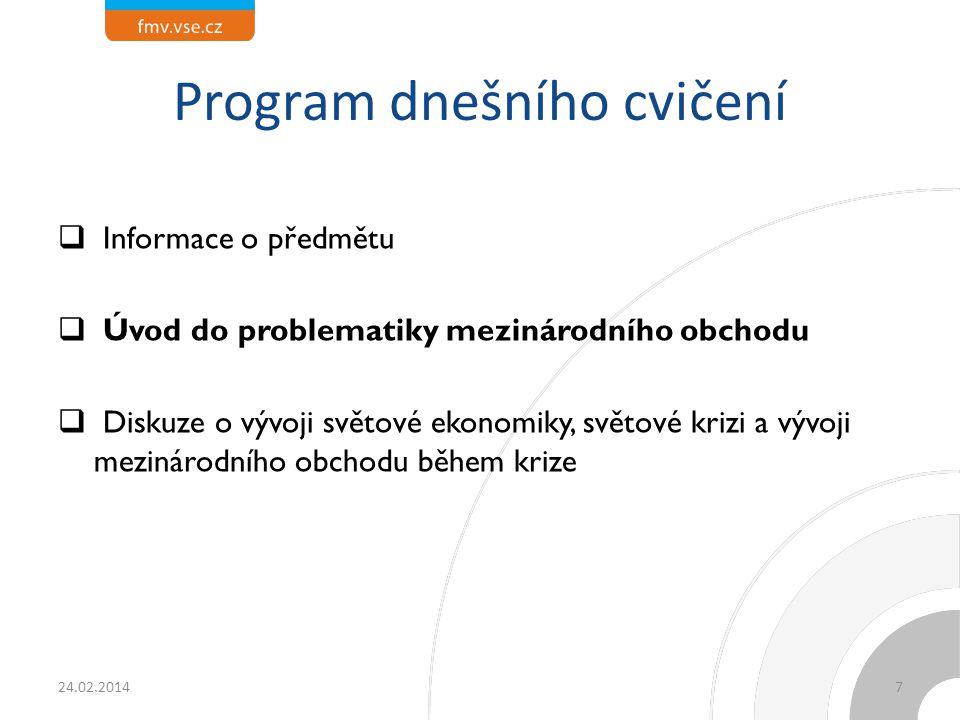 Program dnešního cvičení  Informace o předmětu  Úvod do problematiky mezinárodního obchodu  Diskuze o vývoji světové ekonomiky, světové krizi a výv