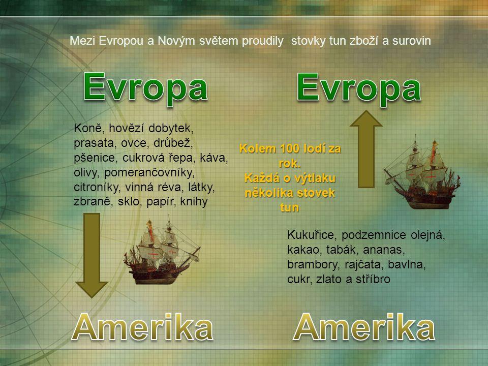 Mezi Evropou a Novým světem proudily stovky tun zboží a surovin Koně, hovězí dobytek, prasata, ovce, drůbež, pšenice, cukrová řepa, káva, olivy, pomer