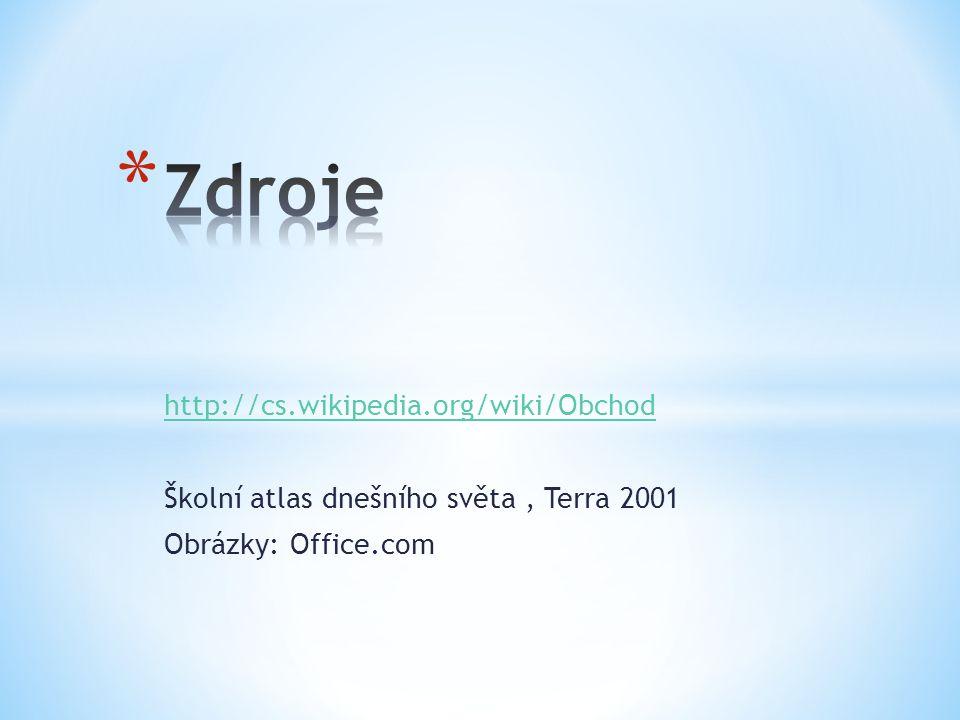 http://cs.wikipedia.org/wiki/Obchod Školní atlas dnešního světa, Terra 2001 Obrázky: Office.com