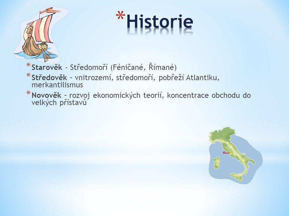 * Starověk - Středomoří (Féničané, Římané) * Středověk – vnitrozemí, středomoří, pobřeží Atlantiku, merkantilismus * Novověk – rozvoj ekonomických teo