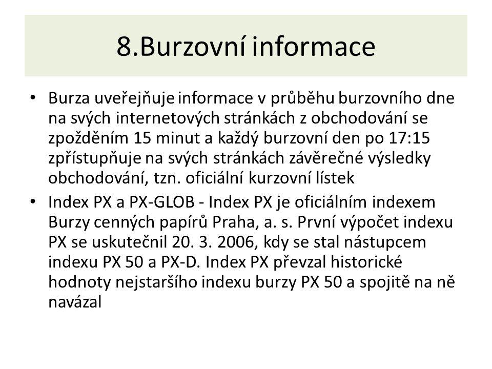 8.Burzovní informace Burza uveřejňuje informace v průběhu burzovního dne na svých internetových stránkách z obchodování se zpožděním 15 minut a každý