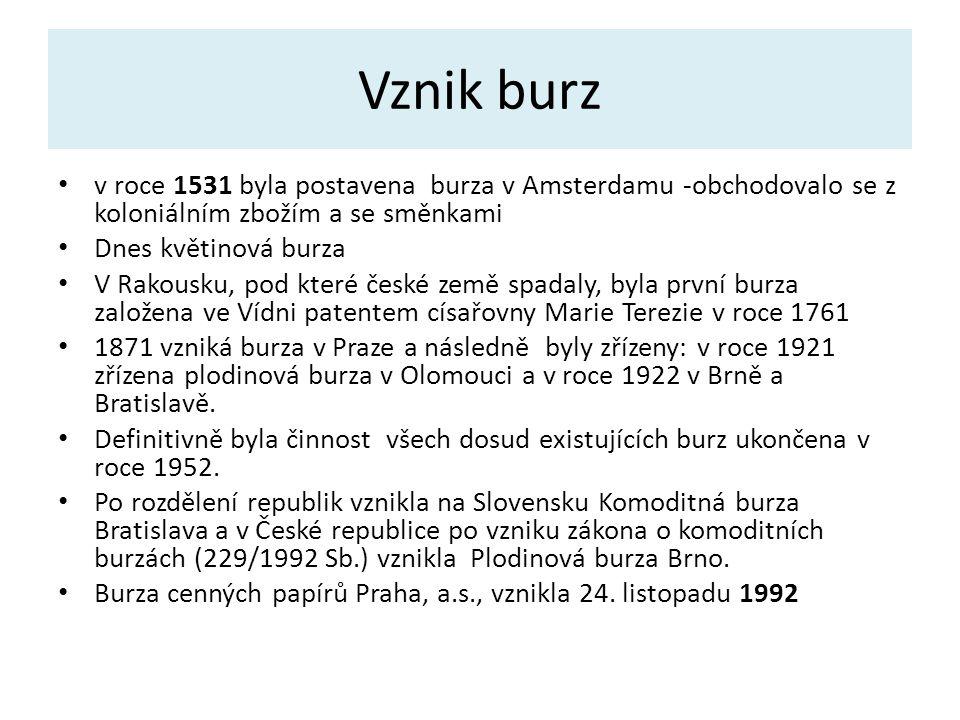 KOMODITNÍ BURZY v ČR Komoditní burzy jsou právnické osoby vzniklé na základě zákona č.