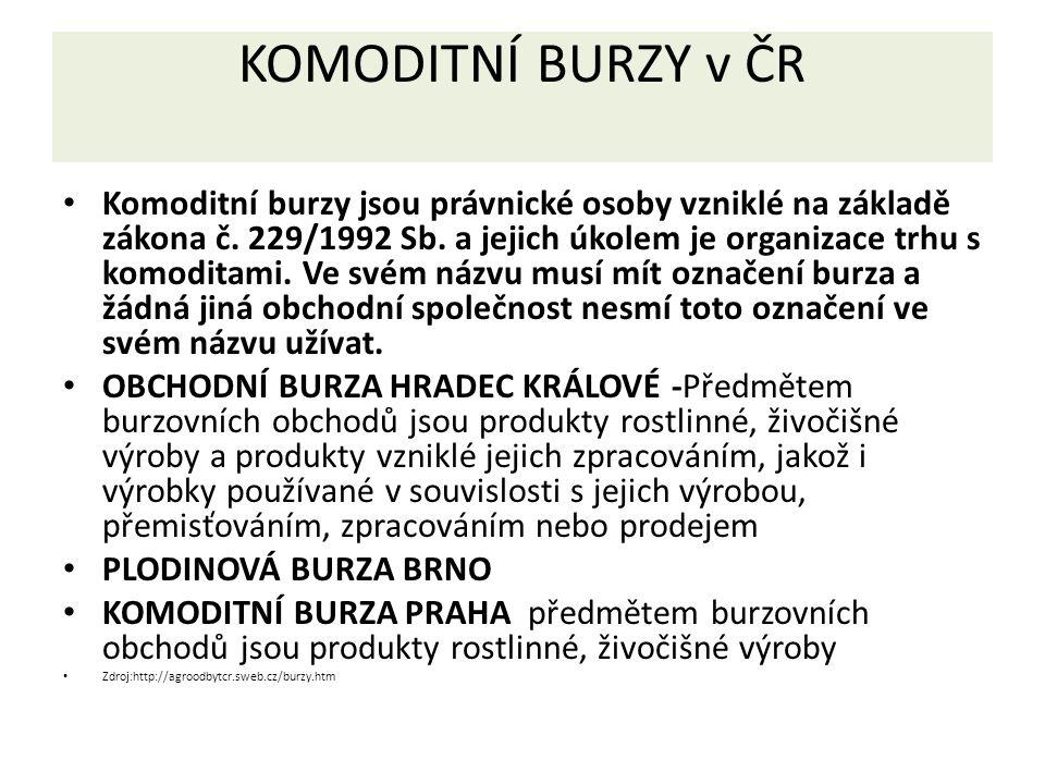 KOMODITNÍ BURZY v ČR Komoditní burzy jsou právnické osoby vzniklé na základě zákona č. 229/1992 Sb. a jejich úkolem je organizace trhu s komoditami. V