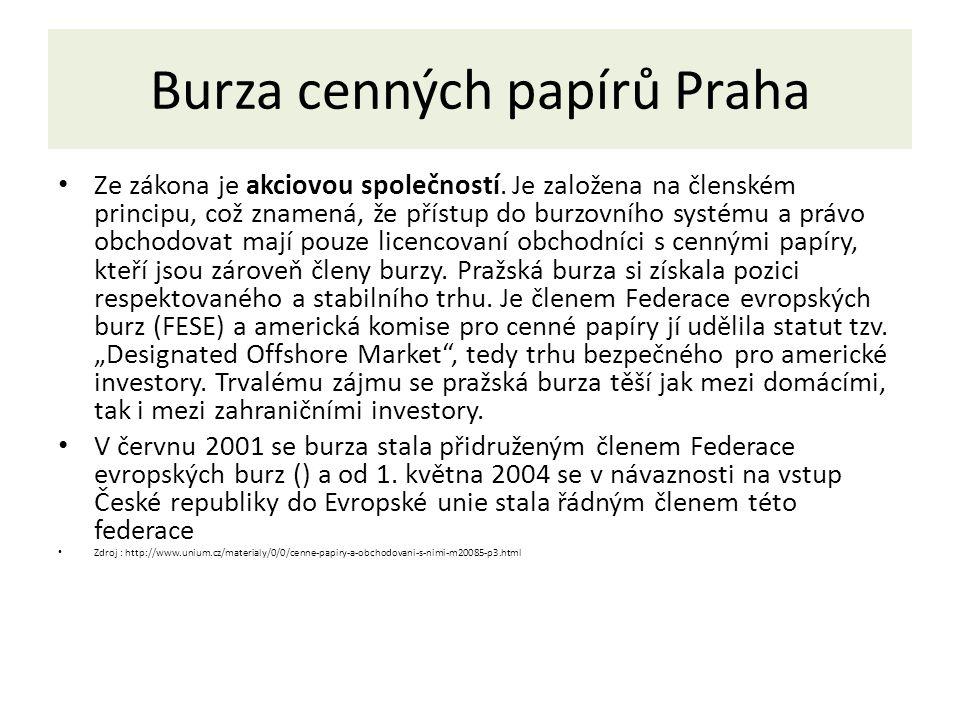 Burza cenných papírů Praha Burza cenných papírů Praha má 3 orgány, valnou hromadu, burzovní komoru a dozorčí radu.