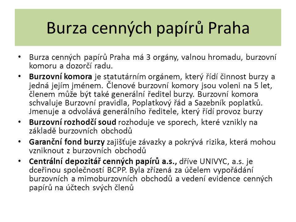 Burza cenných papírů Praha Burza cenných papírů Praha má 3 orgány, valnou hromadu, burzovní komoru a dozorčí radu. Burzovní komora je statutárním orgá