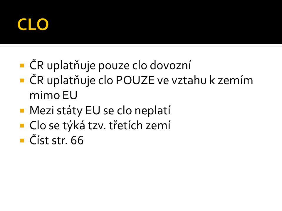 ČR uplatňuje pouze clo dovozní  ČR uplatňuje clo POUZE ve vztahu k zemím mimo EU  Mezi státy EU se clo neplatí  Clo se týká tzv. třetích zemí  Č
