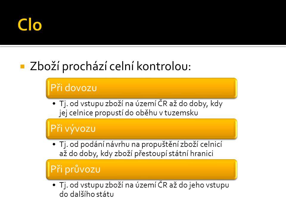  Zboží prochází celní kontrolou: Při dovozu Tj. od vstupu zboží na území ČR až do doby, kdy jej celnice propustí do oběhu v tuzemsku Při vývozu Tj. o