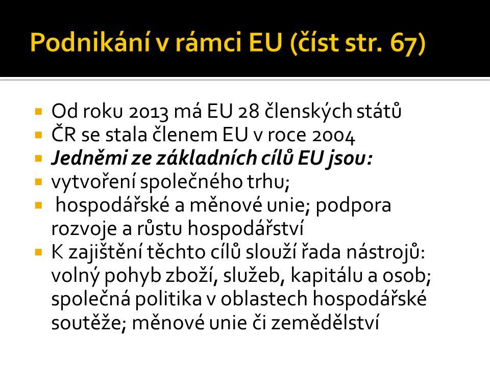  Od roku 2013 má EU 28 členských států  ČR se stala členem EU v roce 2004  Jedněmi ze základních cílů EU jsou:  vytvoření společného trhu;  hospo