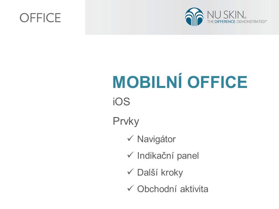 MOBILNÍ OFFICE iOS Prvky Navigátor Indikační panel Další kroky Obchodní aktivita
