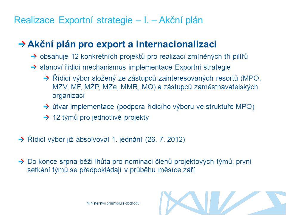 Ministerstvo průmyslu a obchodu Realizace Exportní strategie – I. – Akční plán Akční plán pro export a internacionalizaci obsahuje 12 konkrétních proj