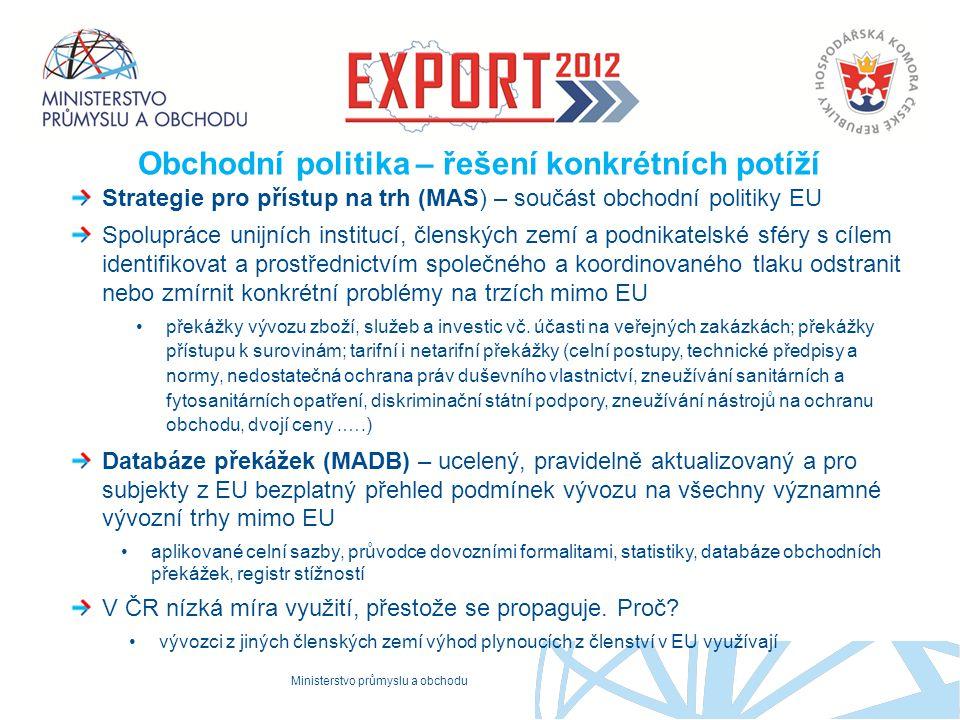 Ministerstvo průmyslu a obchodu Proč to děláme Obchodní politika – řešení konkrétních potíží Strategie pro přístup na trh (MAS) – součást obchodní pol