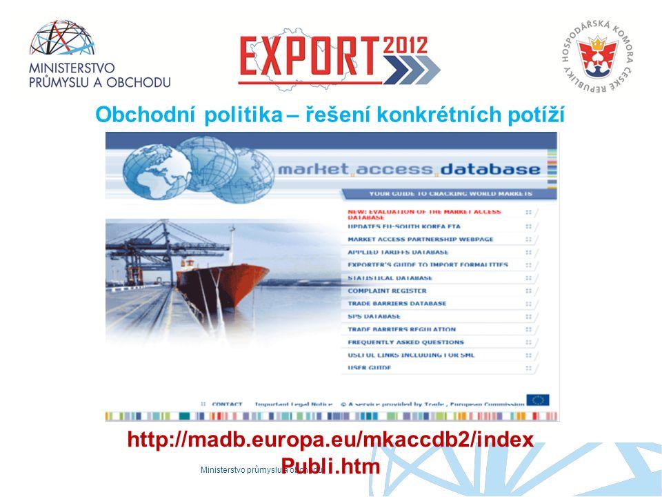 Ministerstvo průmyslu a obchodu Proč to děláme Obchodní politika – řešení konkrétních potíží http://madb.europa.eu/mkaccdb2/index Publi.htm