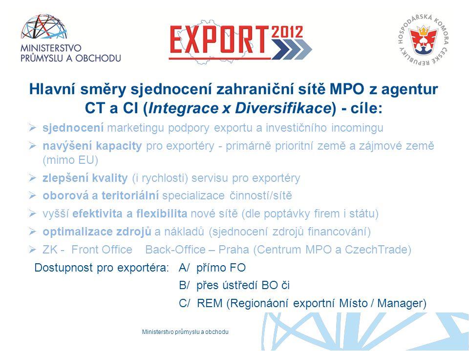 Ministerstvo průmyslu a obchodu Proč to děláme Hlavní směry sjednocení zahraniční sítě MPO z agentur CT a CI (Integrace x Diversifikace) - cíle:  sje