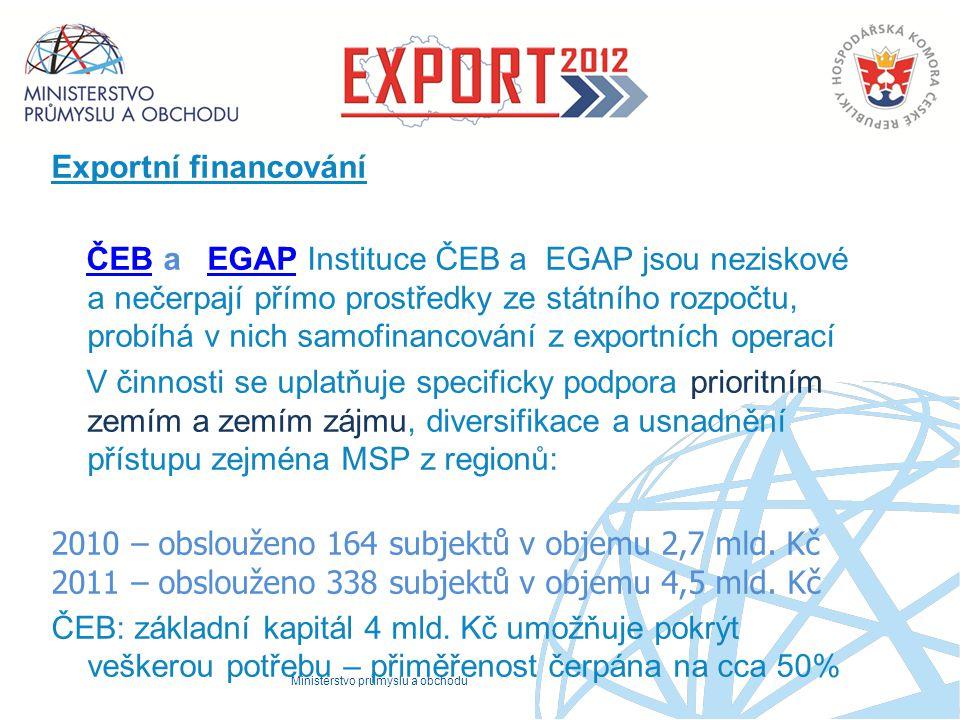 Ministerstvo průmyslu a obchodu Exportní financování ČEB a EGAP Instituce ČEB a EGAP jsou neziskové a nečerpají přímo prostředky ze státního rozpočtu,