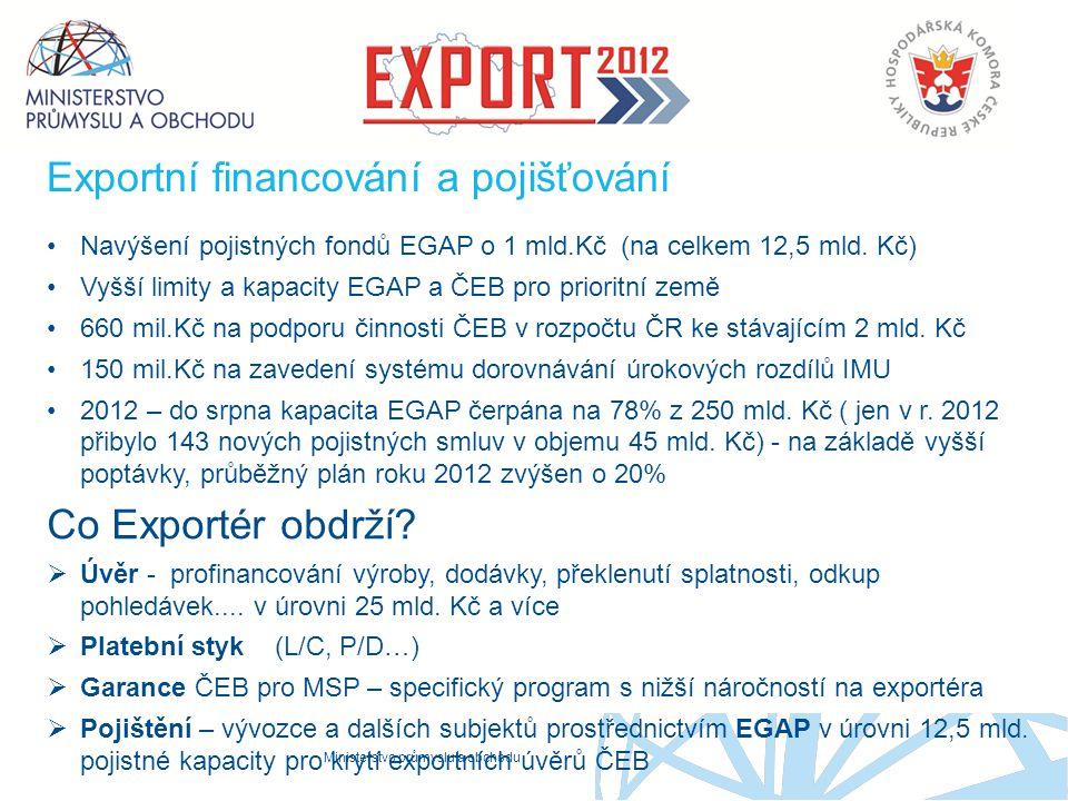 Ministerstvo průmyslu a obchodu Exportní financování a pojišťování Navýšení pojistných fondů EGAP o 1 mld.Kč (na celkem 12,5 mld. Kč) Vyšší limity a k