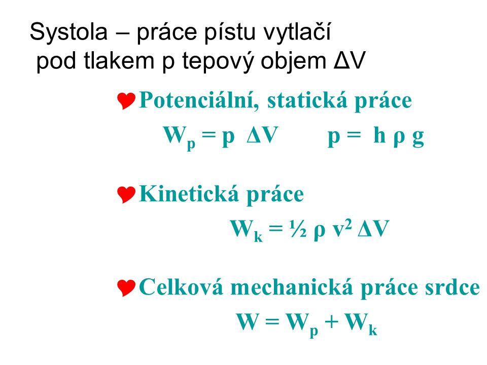 Systola – práce pístu vytlačí pod tlakem p tepový objem ΔV  Potenciální, statická práce W p = p ΔV p = h ρ g  Kinetická práce W k = ½ ρ v 2 ΔV  Cel