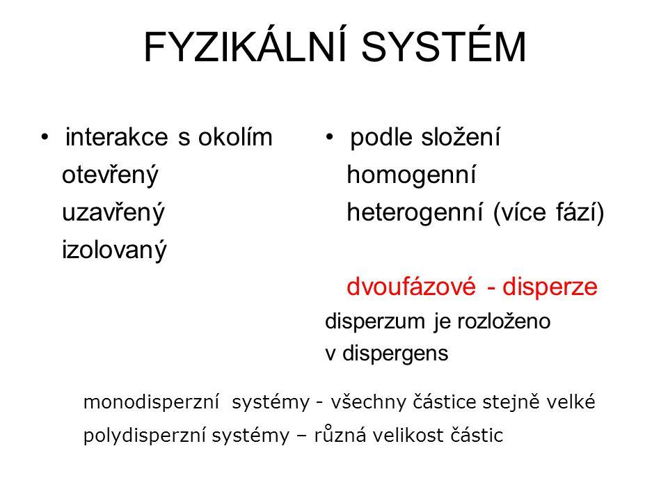 FYZIKÁLNÍ SYSTÉM interakce s okolím otevřený uzavřený izolovaný podle složení homogenní heterogenní (více fází) dvoufázové - disperze disperzum je roz