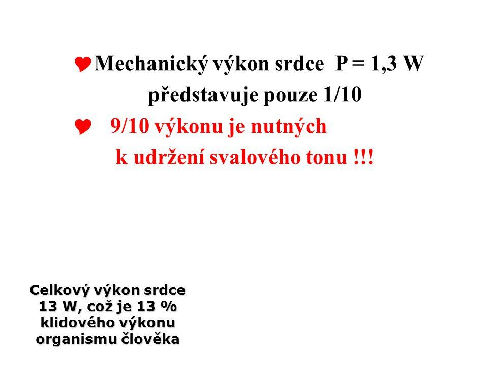  Mechanický výkon srdce P = 1,3 W představuje pouze 1/10  9/10 výkonu je nutných k udržení svalového tonu !!! Celkový výkon srdce 13 W, což je 13 %