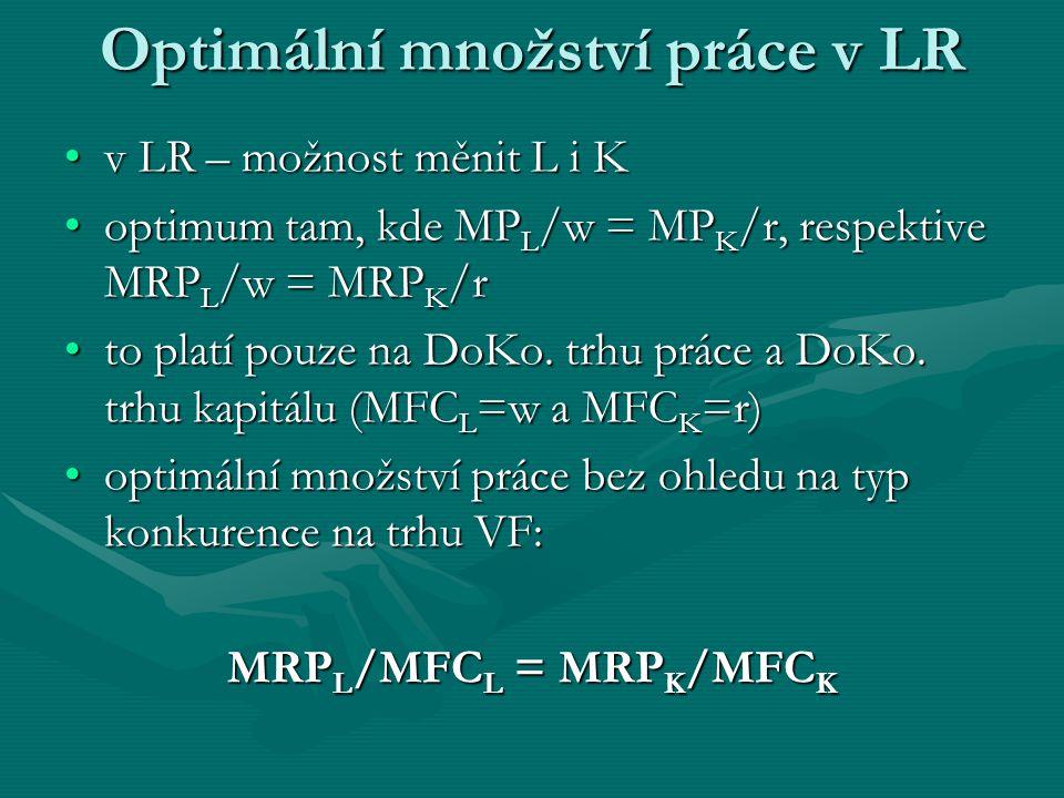 Optimální množství práce v LR v LR – možnost měnit L i K optimum tam, kde MPL/w = MPK/r, respektive MRPL/w = MRPK/r to platí pouze na DoKo.
