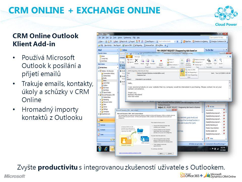 CRM ONLINE + EXCHANGE ONLINE CRM Online Outlook Klient Add-in Používá Microsoft Outlook k posílání a přijetí emailů Trakuje emails, kontakty, úkoly a