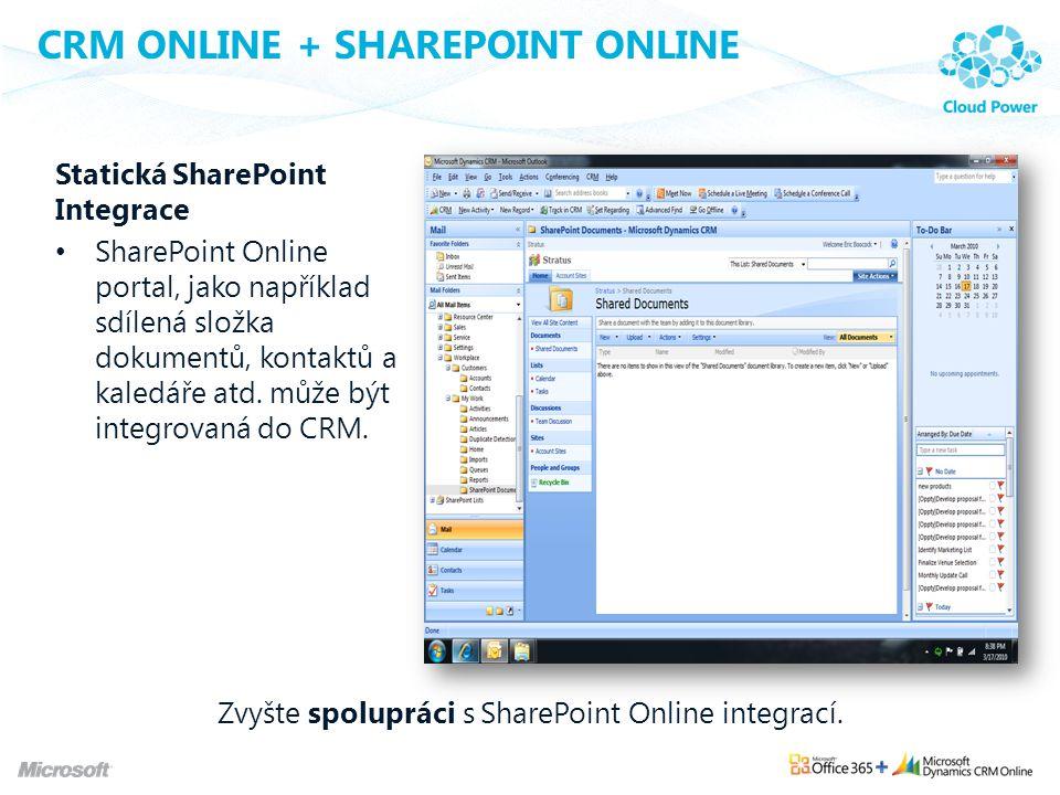 CRM ONLINE + SHAREPOINT ONLINE Statická SharePoint Integrace SharePoint Online portal, jako například sdílená složka dokumentů, kontaktů a kaledáře at