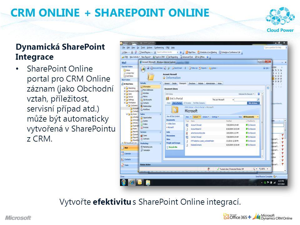 CRM ONLINE + SHAREPOINT ONLINE Dynamická SharePoint Integrace SharePoint Online portal pro CRM Online záznam (jako Obchodní vztah, příležitost, servis