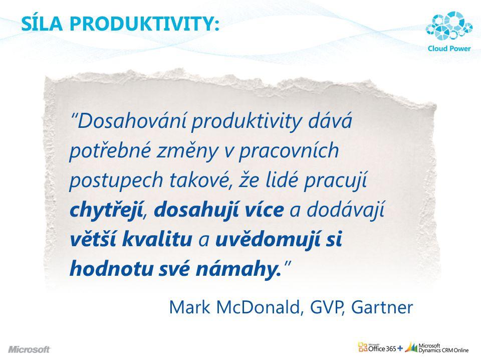 """SÍLA PRODUKTIVITY: """"Dosahování produktivity dává potřebné změny v pracovních postupech takové, že lidé pracují chytřejí, dosahují více a dodávají větš"""