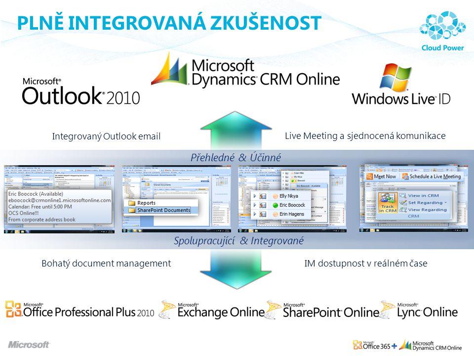 PLNĚ INTEGROVANÁ ZKUŠENOST Integrovaný Outlook email Bohatý document managementIM dostupnost v reálném čase Live Meeting a sjednocená komunikace Přehl