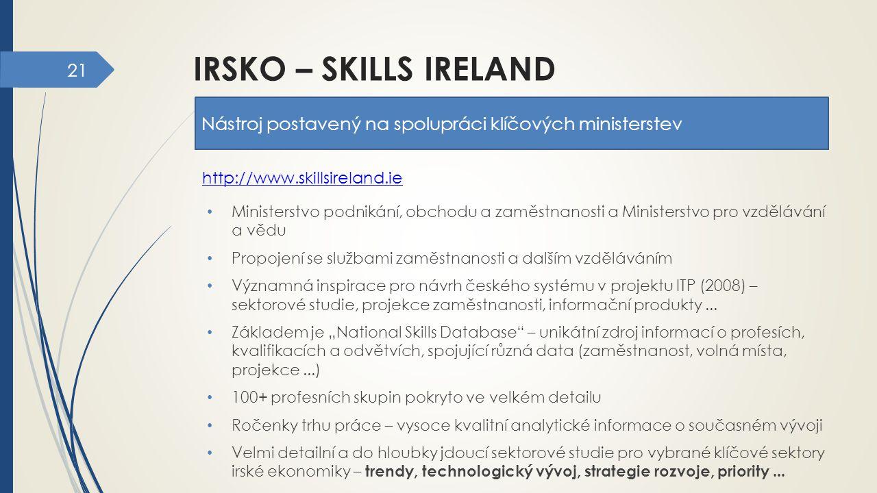 21 IRSKO – SKILLS IRELAND Nástroj postavený na spolupráci klíčových ministerstev Ministerstvo podnikání, obchodu a zaměstnanosti a Ministerstvo pro vz