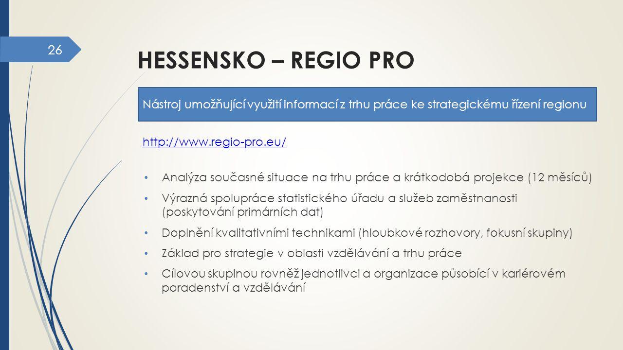 26 HESSENSKO – REGIO PRO Nástroj umožňující využití informací z trhu práce ke strategickému řízení regionu Analýza současné situace na trhu práce a kr