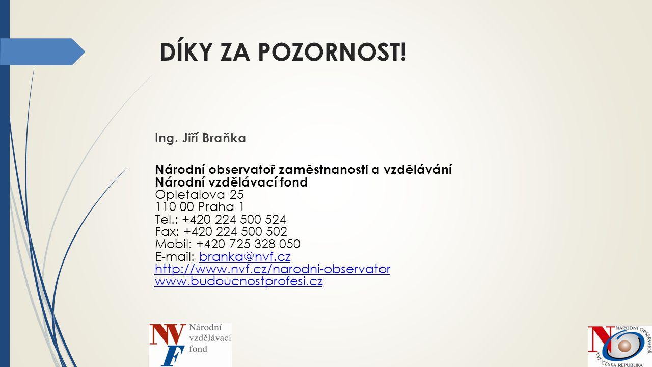 DÍKY ZA POZORNOST! Ing. Jiří Braňka Národní observatoř zaměstnanosti a vzdělávání Národní vzdělávací fond Opletalova 25 110 00 Praha 1 Tel.: +420 224