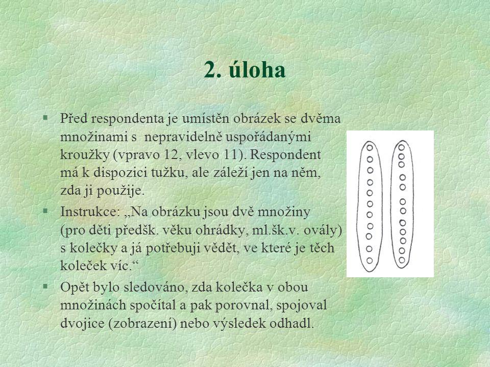 2. úloha §Před respondenta je umístěn obrázek se dvěma množinami s nepravidelně uspořádanými kroužky (vpravo 12, vlevo 11). Respondent má k dispozici