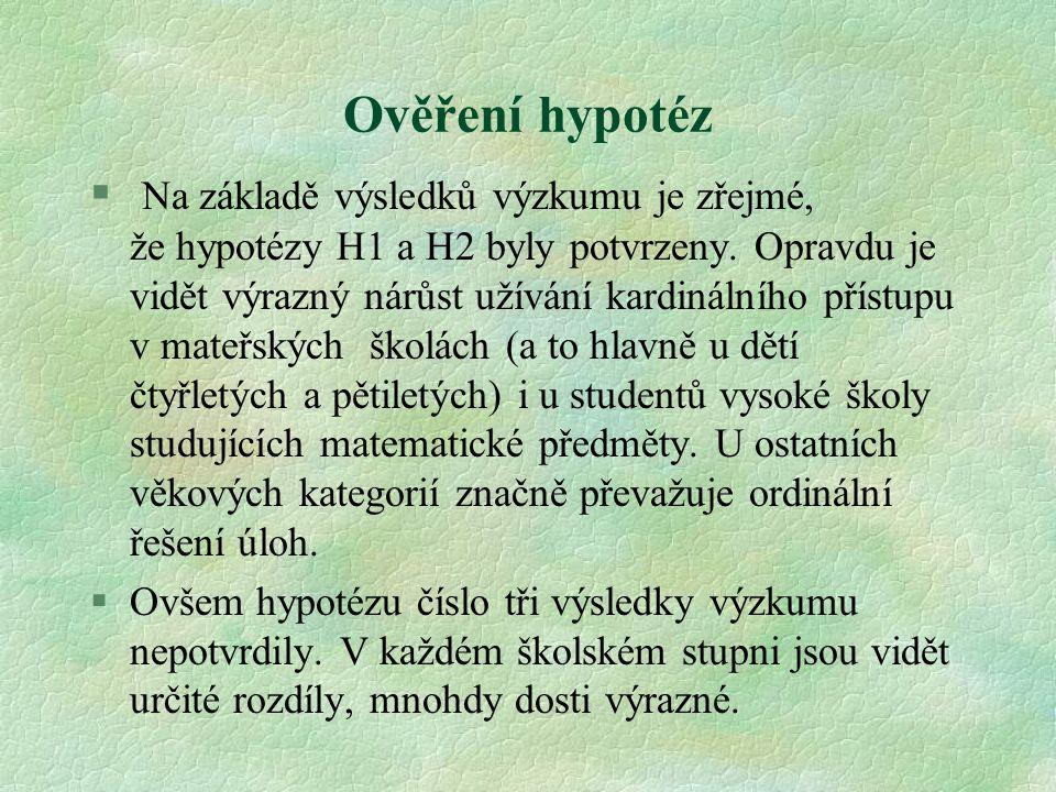 Ověření hypotéz § Na základě výsledků výzkumu je zřejmé, že hypotézy H1 a H2 byly potvrzeny. Opravdu je vidět výrazný nárůst užívání kardinálního přís