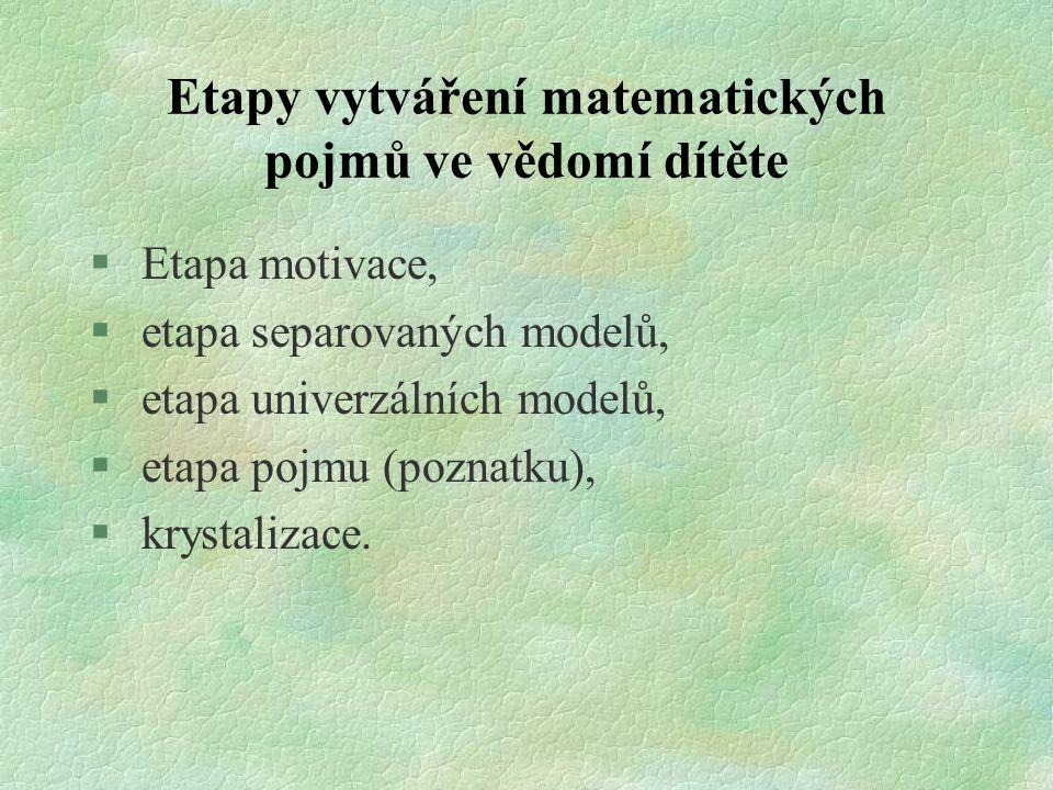 Etapy vytváření matematických pojmů ve vědomí dítěte § Etapa motivace, § etapa separovaných modelů, § etapa univerzálních modelů, § etapa pojmu (pozna