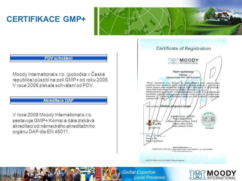 Moody International s.r.o. (pobočka v České republice) působí na poli GMP+ od roku 2005.