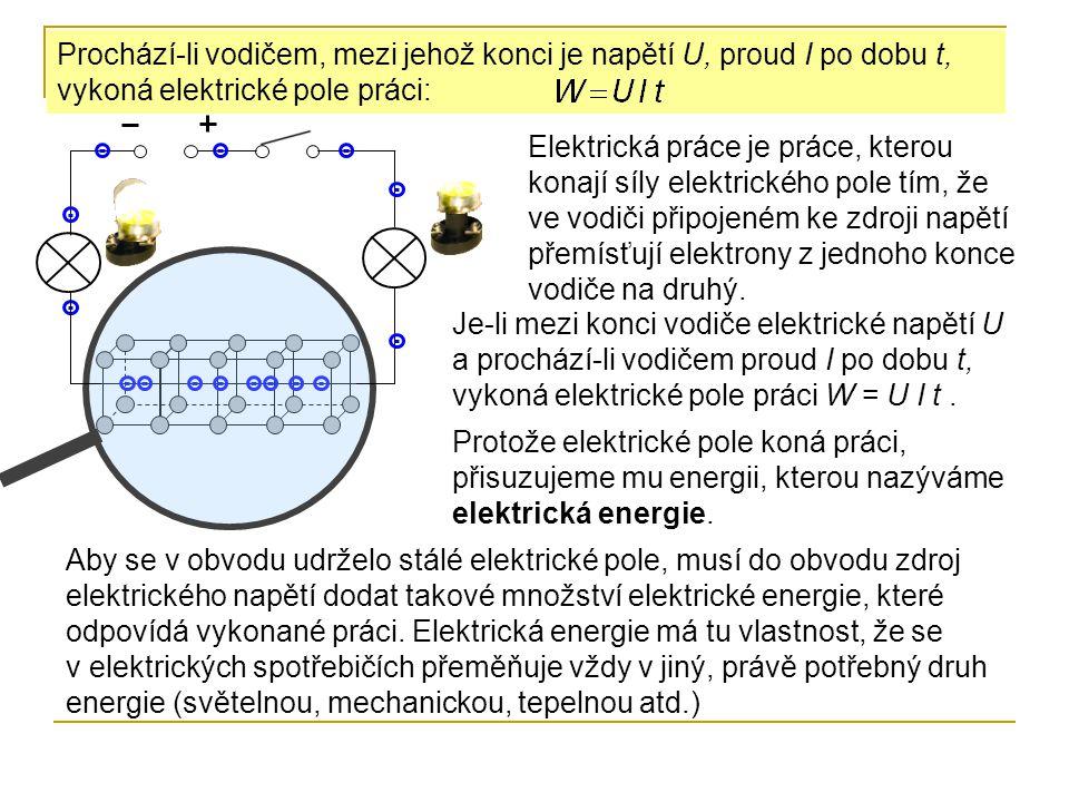 Prochází-li vodičem, mezi jehož konci je napětí U, proud I po dobu t, vykoná elektrické pole práci: Elektrická práce je práce, kterou konají síly elek
