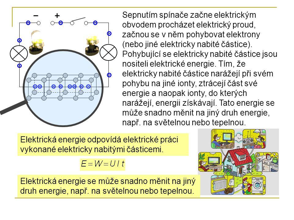 Sepnutím spínače začne elektrickým obvodem procházet elektrický proud, začnou se v něm pohybovat elektrony (nebo jiné elektricky nabité částice). Pohy