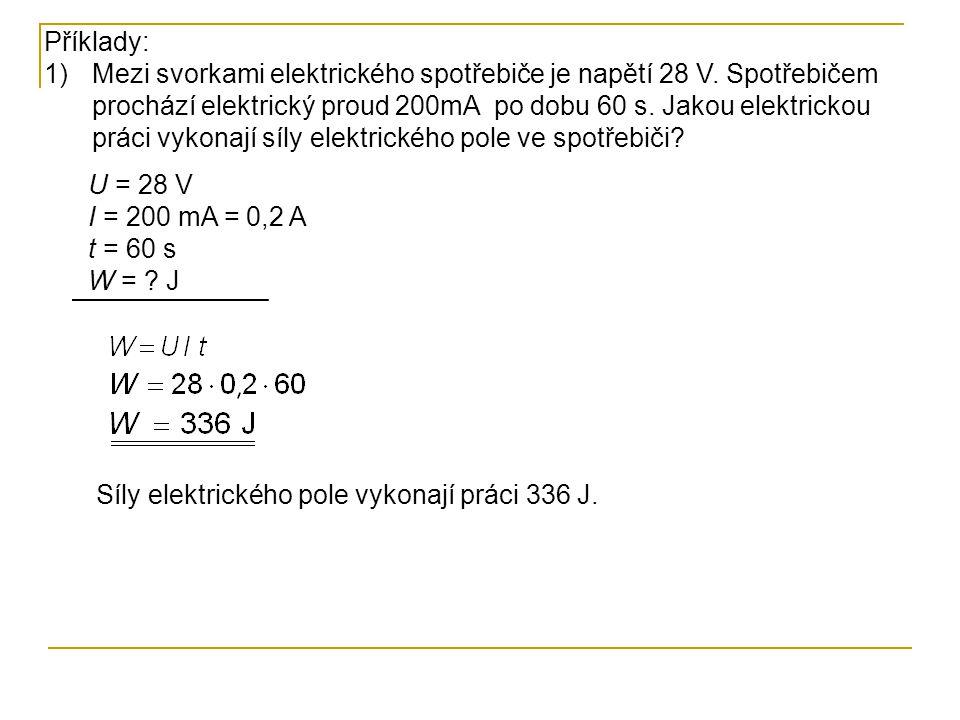 Elektrická energie příklady