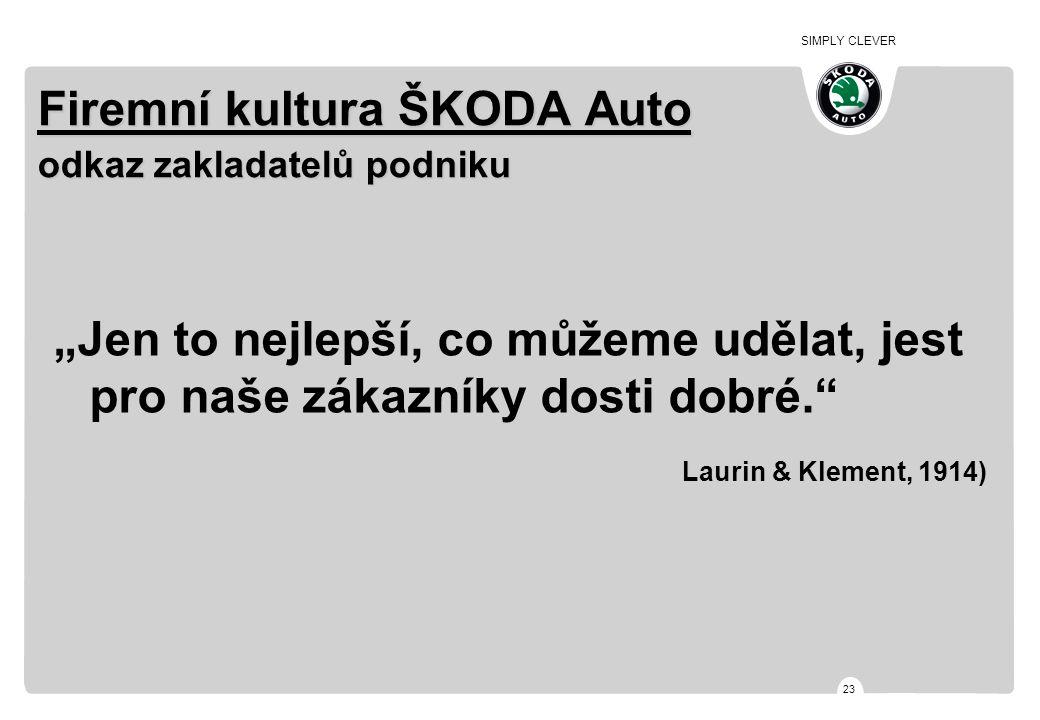 """SIMPLY CLEVER 23 Firemní kultura ŠKODA Auto odkaz zakladatelů podniku """"Jen to nejlepší, co můžeme udělat, jest pro naše zákazníky dosti dobré."""" Laurin"""