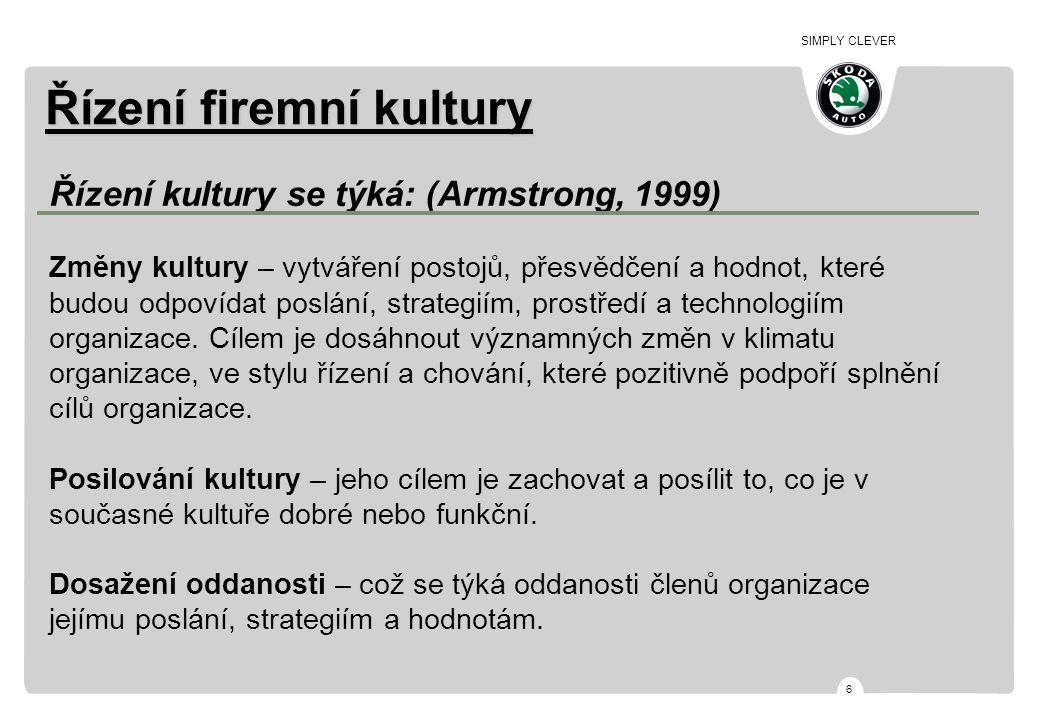 SIMPLY CLEVER 6 Řízení firemní kultury Řízení kultury se týká: (Armstrong, 1999) Změny kultury – vytváření postojů, přesvědčení a hodnot, které budou