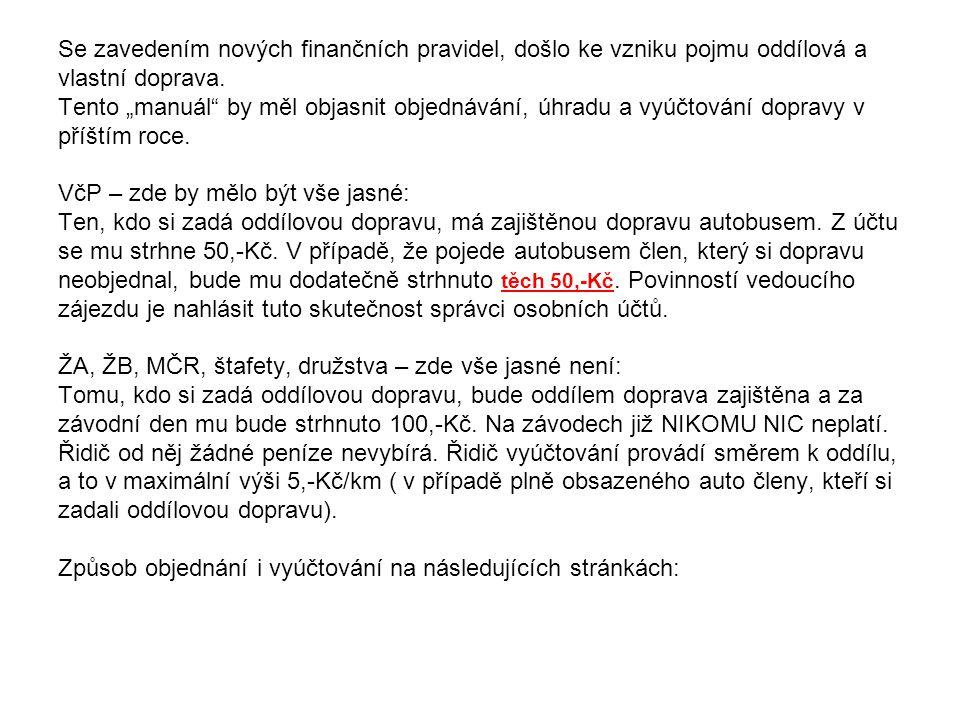 Objednání dopravy PřihlášeníDoprava Pozn.