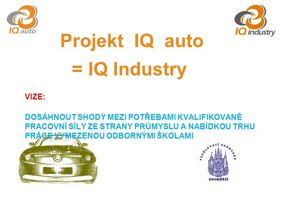 Projekt IQ auto = IQ Industry VIZE: DOSÁHNOUT SHODY MEZI POTŘEBAMI KVALIFIKOVANÉ PRACOVNÍ SÍLY ZE STRANY PRŮMYSLU A NABÍDKOU TRHU PRÁCE VYMEZENOU ODBORNÝMI ŠKOLAMI