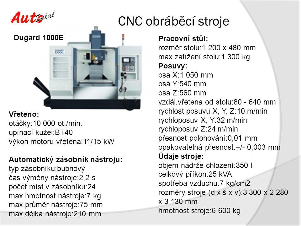 CNC obráběcí stroje – plán nákupu 2014 Pracovní stůl: rozměr stolu:2 150 x 800 mm max.zatížení stolu:4 000 kg Posuvy: osa X:2 060 mm osa Y:850 mm osa Z:815 mm vzdál.vřetena od stolu:105 - 920 mm rychlost posuvu X, Y, Z:10 m/min rychloposuv X, Y:24 m/min rychloposuv Z:18 m/min přesnost polohování:0,01 mm opakovatelná přesnost:+/- 0,003 mm Vřeteno: otáčky:10 000 ot./min.