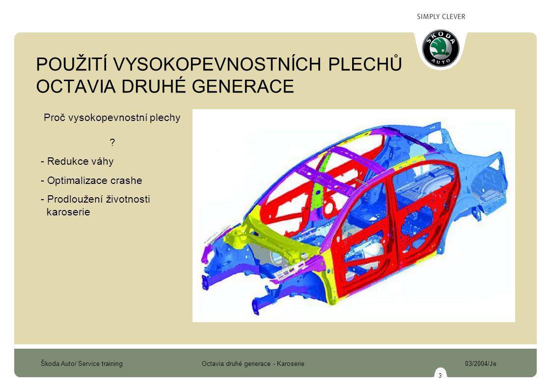 Škoda Auto/ Service training Octavia druhé generace - Karoserie 03/2004/Je 3 POUŽITÍ VYSOKOPEVNOSTNÍCH PLECHŮ OCTAVIA DRUHÉ GENERACE Proč vysokopevnostní plechy .
