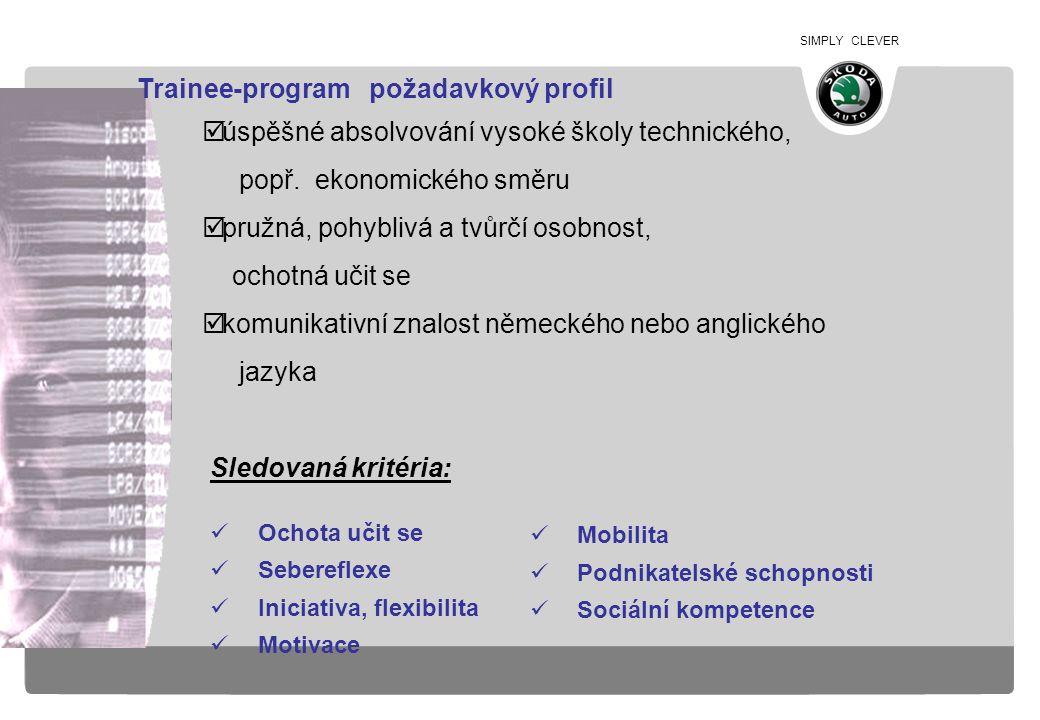 SIMPLY CLEVER Sledovaná kritéria: Ochota učit se Sebereflexe Iniciativa, flexibilita Motivace  úspěšné absolvování vysoké školy technického, popř. ek